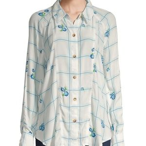 Free People Windowpane Check Floral Shirt size S